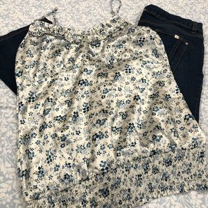 Romy Blue Floral Satin Cami Top Size L